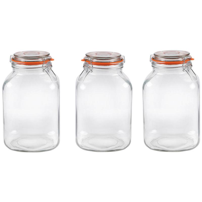 6 x 1 Litre Clip Top Glass Jars Airtight for preserve storage ~ Kilner Style